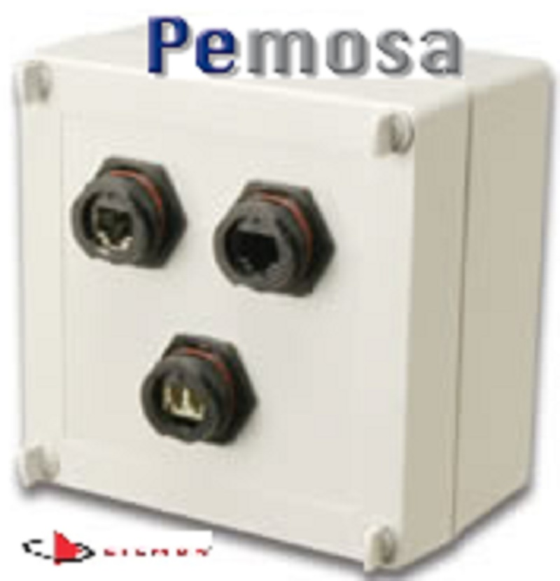 X-IBOX-03 (Picture) Ruggedized surface mount box, 3-port, supplied with 3 cable entry compression fittings