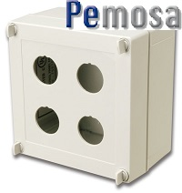 X-IBOX-04 (Picture) Ruggedized surface mount box, 4-port, supplied with 4 cable entry compression fittings