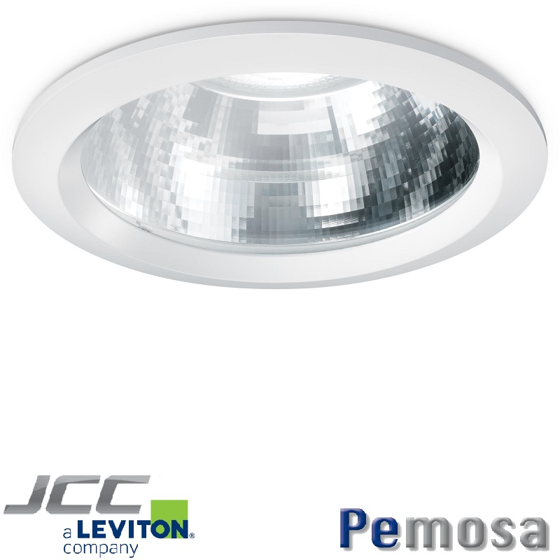 Anillo para Downlight Coral, color blanco con cristal claro.