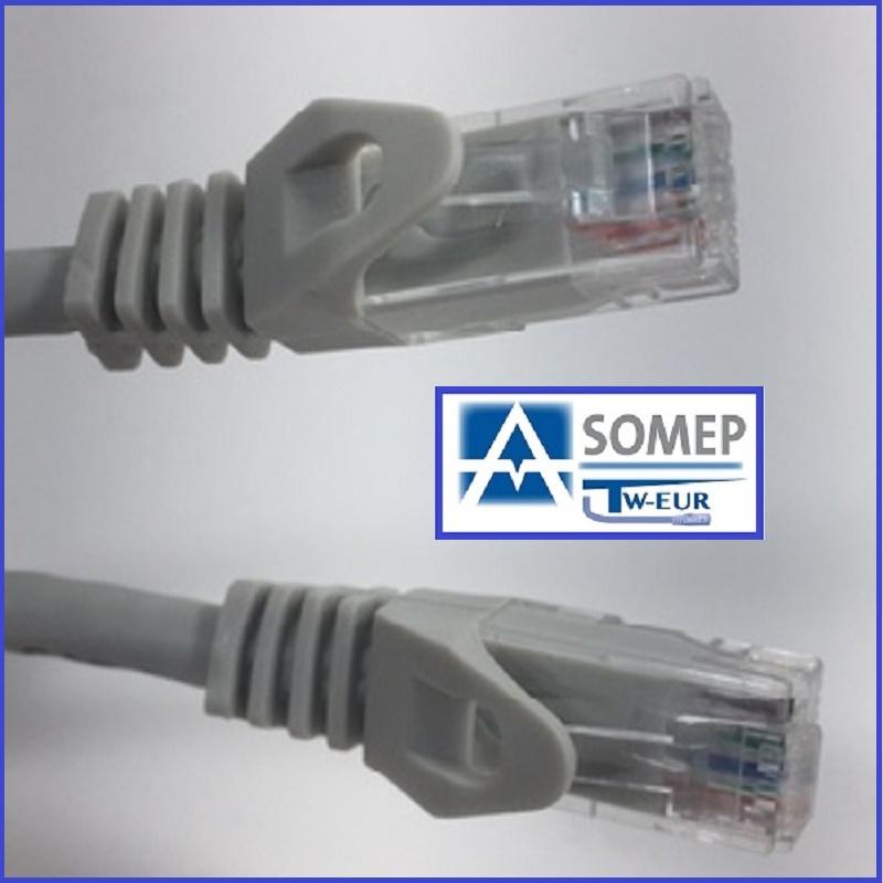 CORDON U/UTP C6E HF1 0,25M. C/C GRIS (ASOMEP TWEUR)