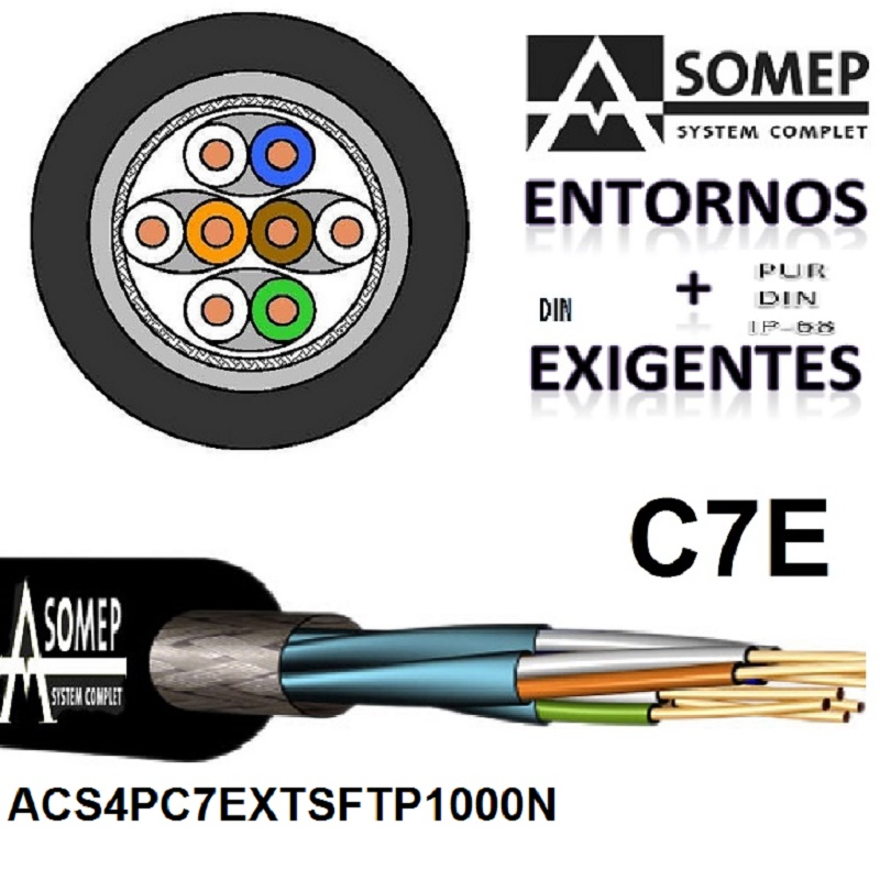 CABLE S/FTP C7E 4X2XAWG23/1 0PE(1000) EXTERIOR NEGRO