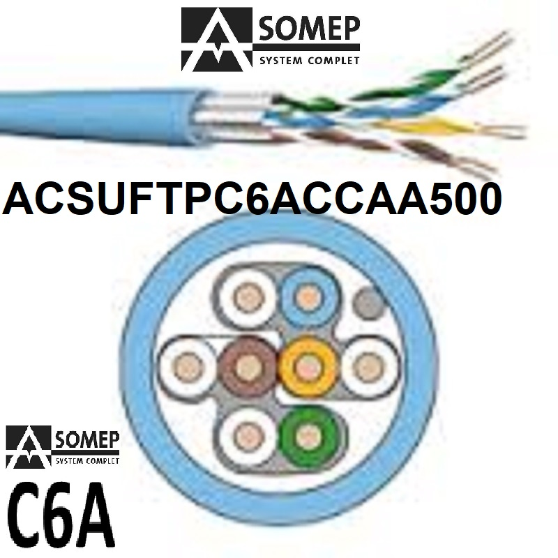 CABLE U/FTP C6A 4X2XAWG23/1 Cca 0500 AZUL ASOMEP