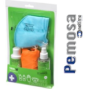 PACK HIGIÉNICO (4 GUANTES NITRILO + MASCARILLA FFP2 + GEL HIGIENIZANTE MANOS + SPRAY DESINFECTANTE SUPERFICIES)
