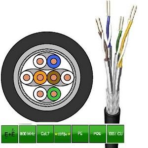 CABLE S/FTP C7E 4X2XAWG23/1 polietileno rollo 100 metros NEGRO EXTERIOR